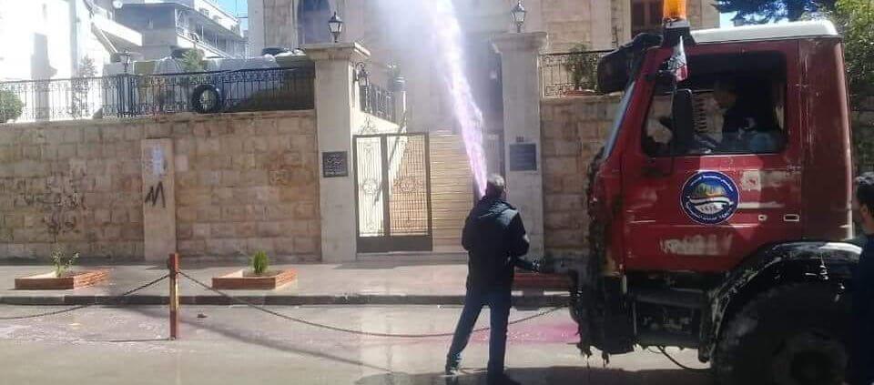 Desinfektionsaktion bei der armenisch-evangelischen Bethel-Gemeinde in Aleppo