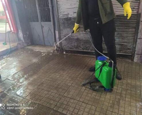 Desinfektion auf den Straßen in Syrien